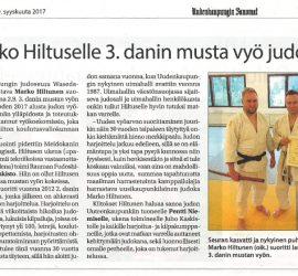 Marko Hiltuselle 3.dan musta vyö, Uudenkaupungin Sanomat 9.9