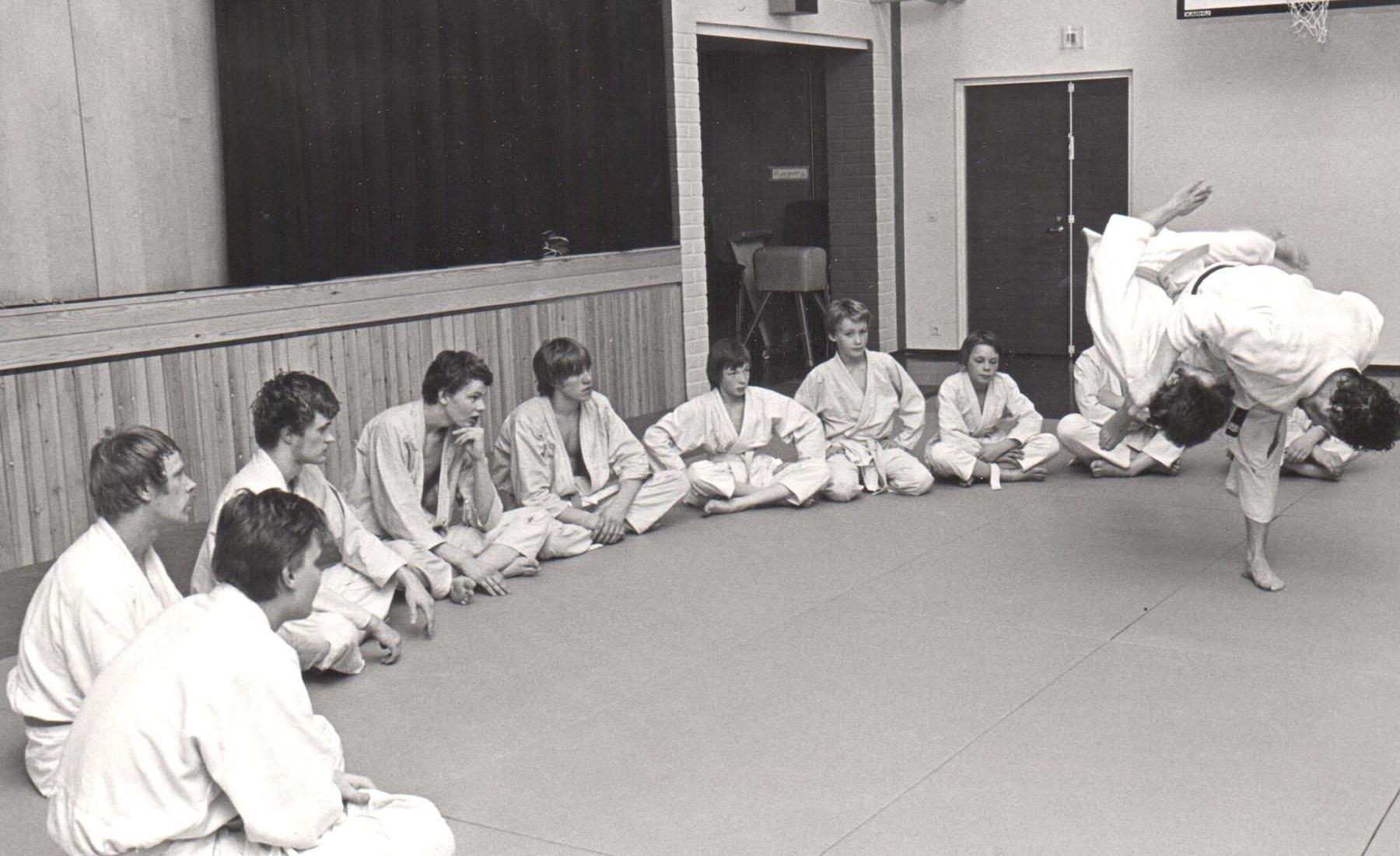 Judokurssin osallistujia Hakametsän koululla