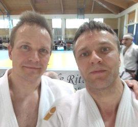 Jouni Kokkonen ja Marko Hiltunen. Hämeenlinna Shiai 14.4.2018