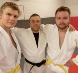 Lauri Leino, Marko Hiltunen ja Juho Hyvärinen, graduointi 14.6.2018