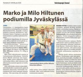 Jyväskylä Shiai 1.2.2020, Uudenkaupungin Sanomat 6.2